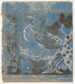"Pasteboard bandbox fragment with wallpaper: ""Peacock"". Blue background, peacock on a branch, in white, pink and green."