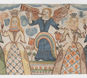 Bonad illustrating one scene, presumably the Wise and Foolish Virgins, or Parable of the Ten Virgins.