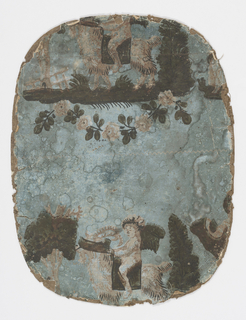 c) Two portions of same design, depicting infant Bacchus, with garland on his head and riding a goat.