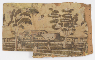 "Fragment of bandbox side covered with wallpaper, ""Castle Garden."" Building, figures in white, tan, olive, on yellow background, title in brown letters."