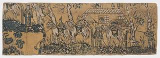 Soldiers on horseback carrying spears and one standing with horse loaded with provisions in front of a house. Another soldier behind a tree aims a gun at the standing soldier. Dogs are attacking the mounted soldiers. Printed in dark green, white and black on a mustard-colored ground.