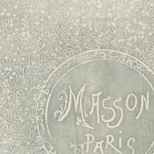"Rectangular, died, white leather bag with scalloped top and embossed decoration; recto with turquoise and white border of curvilinear foliate decoration surrounding gray and white rectangle with design resembling tiny flower buds on stems; circular medallion in center with ""MASSON / PARIS"" in stylized letters. Verso with turquoise and white border of stylized curvilinear foliate decoration surrounding gray and white rectangle with large stylized flower; gray die worn away at top."