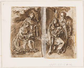 Virgin and Child seated against a wall. Joseph standing up beside them. Recto: left half of a scene, perhaps Salome with head of John the Baptist.