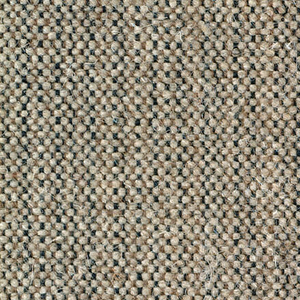 Plain weave with a tan and black warp and beige weft. Warp is comprised of fine lightweight threads while the weft is a coarsely woven heavier yarn. The two colors of the warp produce a subtle vertical stripe effect.