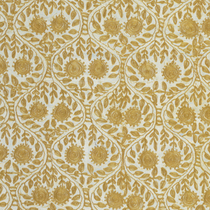 Square panel of white silk embroidered in deep yellow in a pattern of symmetrically curving vines and flower heads.