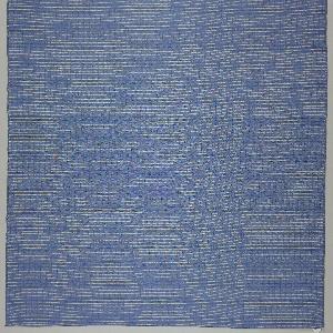 Sheer panel of blue and white stripes. Heavy threads of off-white kibiso create horizontal stripes.