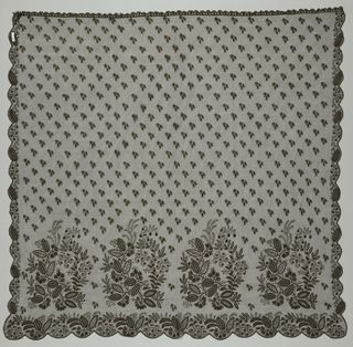 Repeat of floral, fruit and vine motif along lower section of piece. Bottom edge scalloped with elements of this motif set into each curve. Sides and top edges also scalloped but on a smaller scale with smaller motif inset. Field dotted with smaller floral sprigs. Brown silk embroidered on black silk net. Top edge has a drawstring running through it for gathering and wear.