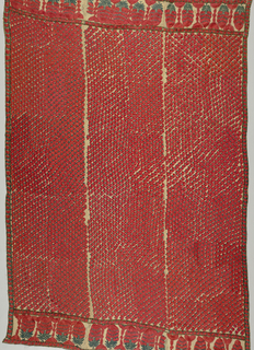 Rectangle of fine muslin densely embroidered with field of stylized heads in brilliant vermillion and blue green silk floss.  Deep end borders with row of stylized boteh. Traces visible of original inked outlines for embroidery.  Made of three panels (not breadths) seamed up long sides.