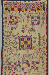 Hindu-type embroidery. Panel or cover with scenes from Spring Festival. Two layers of cotton embroidered in silk and purple, green, yellow, gold, red, and blue. Panel divided.