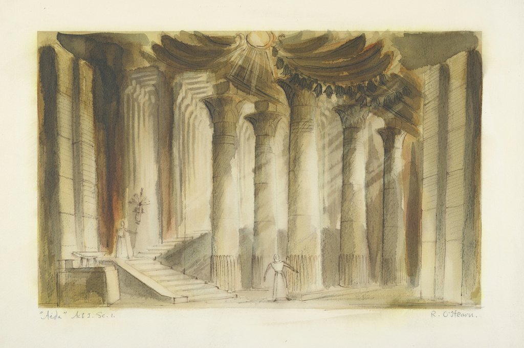 Horizontal rectangle. Figure, at left, descending stairs and carrying a standard. Figure, center, in front of large Egyptian columns.