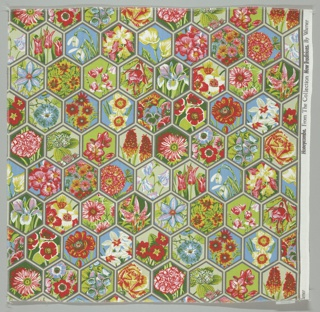 Grid of hexagons, each enclosing a flower. Blue, 2 reds, 3 greens, grey and beige.