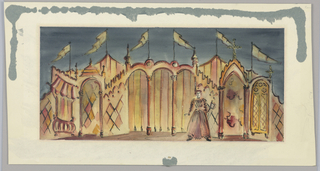 Horizontal rectangle. Figure standing in front of a carnival structure, six pennants flying.