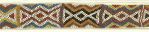 A band with a repeating triangular pattern in beads of black, white, red, blue, yellow, brown and tan.