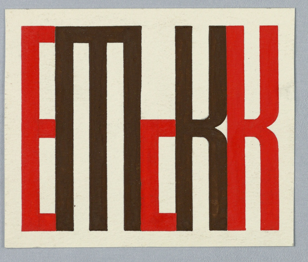 """Design for the artist's monogram. The letters """"E McK K"""" depicted in connecting sans-serif block letters. """"E,"""" """"c,"""" and  """"K"""" in red; """"M"""" and the first """"K"""" (reading left to right) in brown."""
