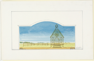 Horizontal landscape scene contained within decorative framed border with arch at center. In a desert, an outlined facade of a simple church with belfry against blue sky with swirling white clouds. Brown fence in middle ground and background, trees in the distance.