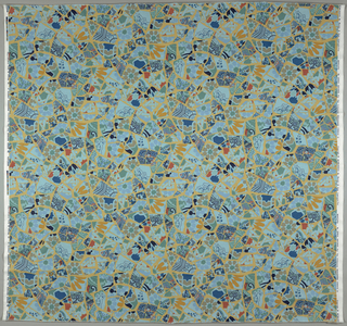A fractured and fragmented design as of a mosaic made of broken pottery and tiles. Principally blue and green. Width of pattern is 54 inches leaving a margin at both sides.