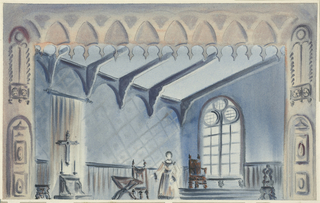 Horizontal rectangle. Woman standing in ecclesiastical setting, window at right, cross on wall, left.