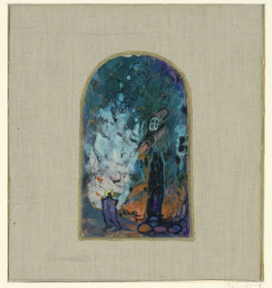 Top curved. Impressionistically rendered scene, set in forest. Witch in right foreground. A second figure in left foreground.