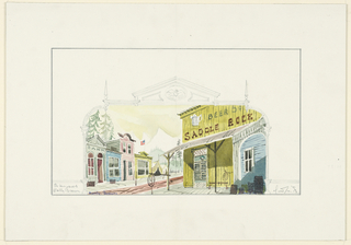 Drawing, Stage Design: Front of Saddle Rock Sallon, for The Unsinkable Molly Brown