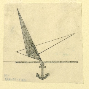 Study for British airline company, likely Marine Air Navigation Co. At center, a bird in flight, abstractly depicted by two overlapping triangles (one shaded in black, the other rendered in outline), over a bar from which is suspended a ship's anchor (centered).