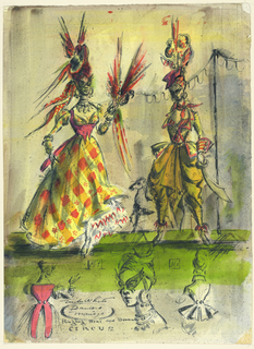 Vertical rectangle. Two women in a dancers manège. At left, woman in full, plaid skirt, headpiece of ribbons and feathers, exaggerated eyepiece, holding a parrot. At right, a woman in drapey pants with an elaborate headpiece of ribbon, holding a scimitar. Detailed rear views of costumes illustrated below.