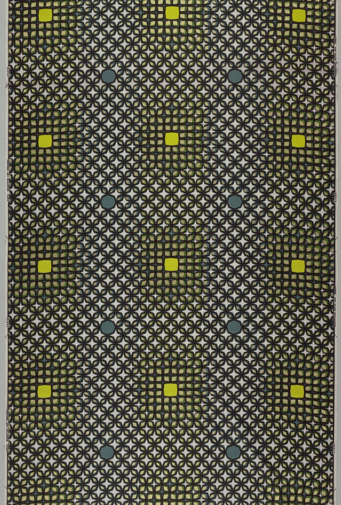 Overall lattice of diamond lozenges, with large irregular squares. Printedin black, gray, green, lime green, and metallic gold on an off-white ground.
