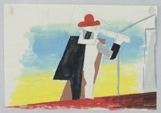 At center, an abstracted figure wears a red hat and black-brown cape, holding a blue telescope to its eye. Shown on an abtracted lanscape on blue, yellow, and red ground.