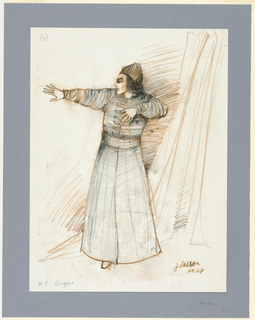 Vertical rectangle. Man in long cloak, right arm thrust forward, left arm with elbow bent held at shoulder level.