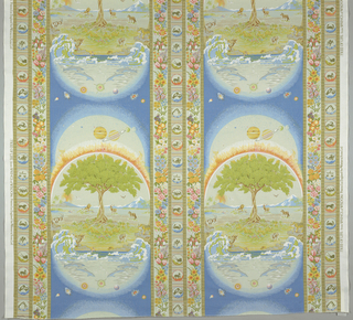 "Symbolic motifs of the world and creation arranged in stripes.  Major stripe: the solar system and the universe above the earth, sky and ocean arranged in the shape of a tantric egg. The life process is symbolised by the tree. Animals surround the tree.  Borders: 12 signs of the zodiac, flowers of the seasons associated with the zodiac, and dark stripes dividing the areas taken from the 64 hexagrams in the ""I Ching"". Multicolor."