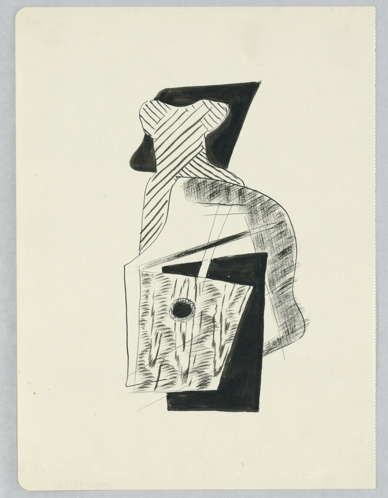 Study for a cubist composition with an abstract guitar at center. Behind and above, overlaid planes of black and white with cross-hatching
