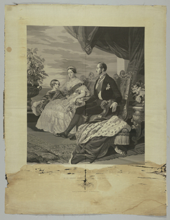 Woven portrait of Queen Victoria, Prince Albert and their eldest son, Prince Albert Edward in black, tones of grey and white.