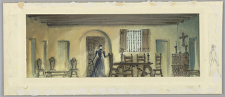 Horizontal rectangle. Woman in long black dress, cane in right hand, standing in front of arched doorway near a refectory table. Beamed ceiling, a cross on the wall, at right.