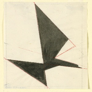 Likely a study for an Imperial Airways (now, British Airways) advertisement or logo. In black, an eagle in flight, abstractly rendered, facing right. The bird's shape resembles a grouping of geometric shapes. Various markings in graphite and red crayon marks throughout.