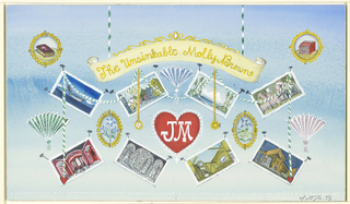 """Pale blue background title on yellow scroll, """"J.M."""" in white on red heart, eight vignettes as if attached to background, and fans at left and right."""
