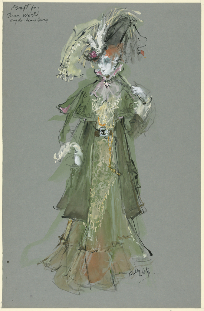 Vertical rectangle. Woman in green coat and dress holding a parasol in left hand.