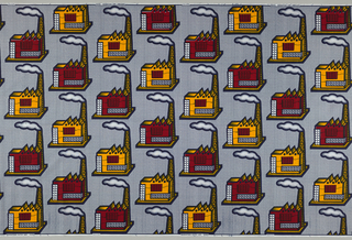 Factory buildings with smoke drifting horizontally from smokestacks, on a herringbone background. Printed in indigo, yellow and red on a white ground.
