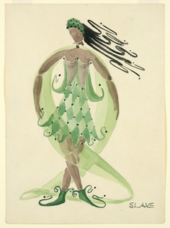 Vertical rectangle. Woman in green hat, green diamond patterned costume and veil, green shoes.