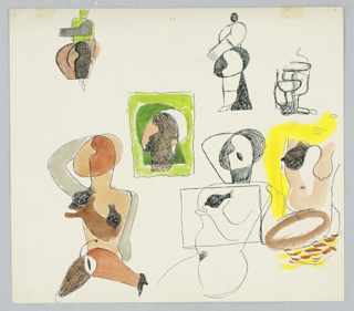Seven studies of abstract figures, rendered in a cubist manner. At bottom left, a seated nude with right hand raised above the head, and left hand crossed in front of the body to grasp the figure's right breast. The figure's legs splay out to either side, and is wearing black high heel shoes. The figure is shaded in brown. To the right, a second, similarly rendered figure depicted in black line with a rectangle superimposed over the torsos. Between the two seated nudes, a study of just the figure's head shaded in greens and bounded by a rectangular frame. At far right, a disembodied torso with one black breast (at left) and one tan breast (at right). Across the top of the page, two abstracted standing figures in left profile, and a third abstract composition.