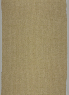 "Length of woven fabric with continuous vertical stripes, 1 ½"" of a surface dominated by weft floats alternating with ½"" of plain weave. Total color effect light tan with slight amount of green."