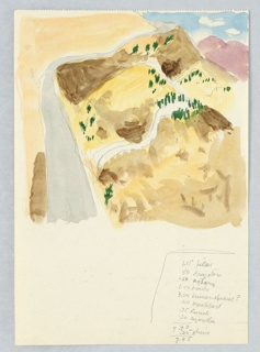Drawing, Study of a Hilly Desert Landscape
