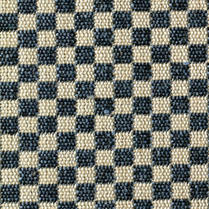 Double cloth in a small-patterned blue and gray checkerboard. Warp threads are black and white. The weft threads are light blue and beige.