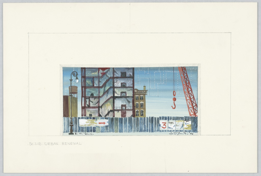Drawing, Stage Design: Scene 1–12 - Urban Renewal, for On the Town