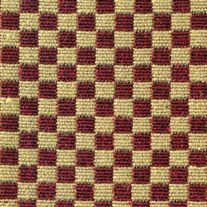 Double cloth in a small-patterned dark red and gold checkerboard. Warp threads are light brown and dark brown. The weft threads are gold and red.