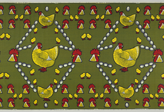 Hens, rooster heads, chicks and eggs, on a background with an overall repeating pattern of small dots. Printed in indigo, yellow and red on a white ground.