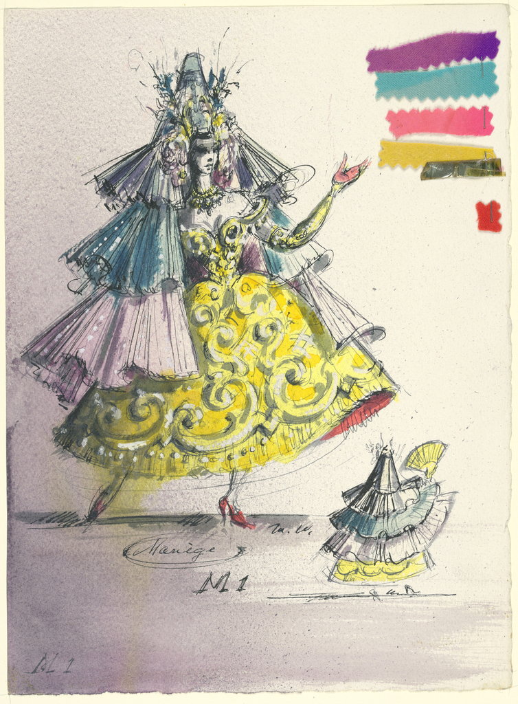 Vertical format. Figure of a woman in tiered triangular-shaped costume, elaborately embroidered with C- and S-scroll shapes. Rear view of the dress at right. Six fabric swatches attached in a range of colors at upper right.
