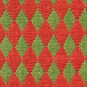 Double cloth in a red and yellow-green diamond pattern. Warp threads are red and green. Weft threads are orange and dark yellow.