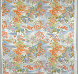 Flowering sprays and floweringntrees against a background of horizontal lines. 3 blues, 4 greens, lavendar, 2 oranges and 2 pinks on white. Width of pattern is 127cm (50 in.) leaving a margin at each side.