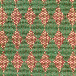 Double cloth in a light red and olive green diamond pattern. Warp threads are dark yellow and light brown. Weft threads are green and red.