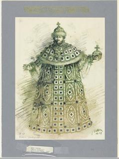 Drawing, Costume Design: Boris Godunoff, for Boris Gudunov, 1967
