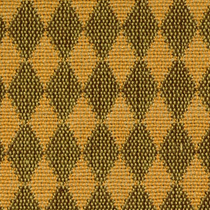 Double cloth in a light orange and light brown diamond pattern. Warp threads are yellow-orange and beige. Weft threads are beige and dark brown.
